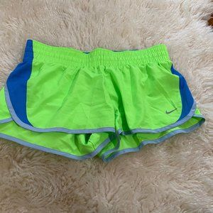 Nike running shorts, lime green size M